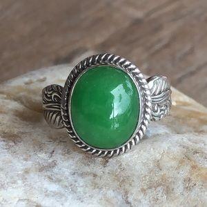 Green Jade Sterling Silver Leaf Ring